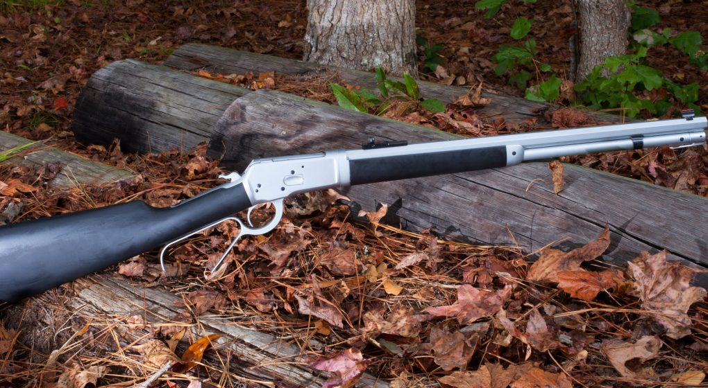 A stainless steal lever action rifle
