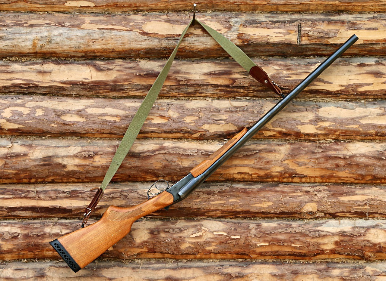 a shotgun, for hunting, hanging on a wood cabin wall
