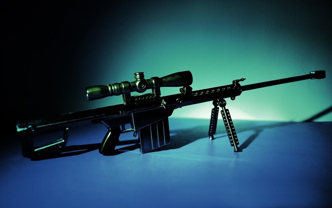 a rifle standing with the support of a bipod