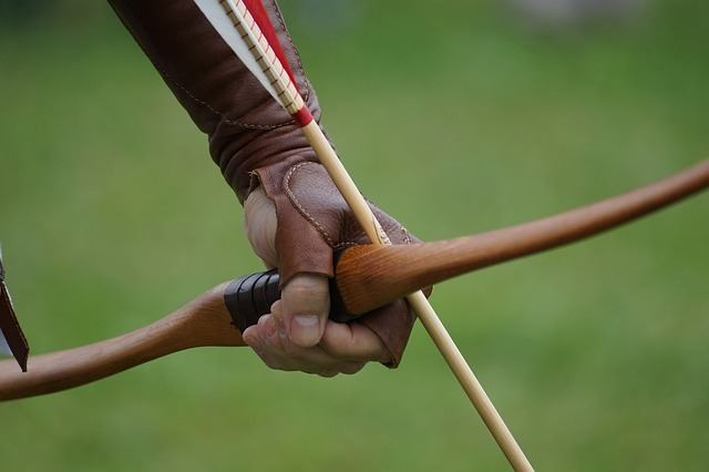 a person about to shoot a composite bow