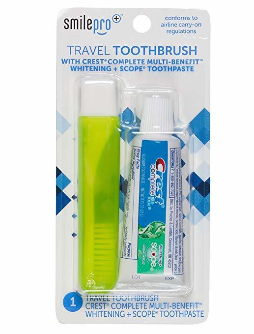 Dental Source Travel Toothbrush and Crest Toothpaste Kit, 2-pack