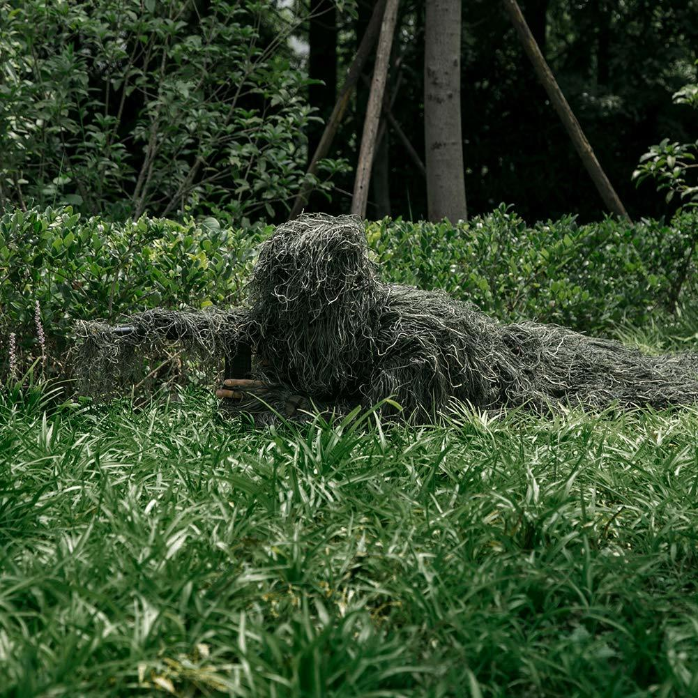 MOPHOTO 5 in 1 Ghillie Suit, 3D Camouflage Hunting Apparel