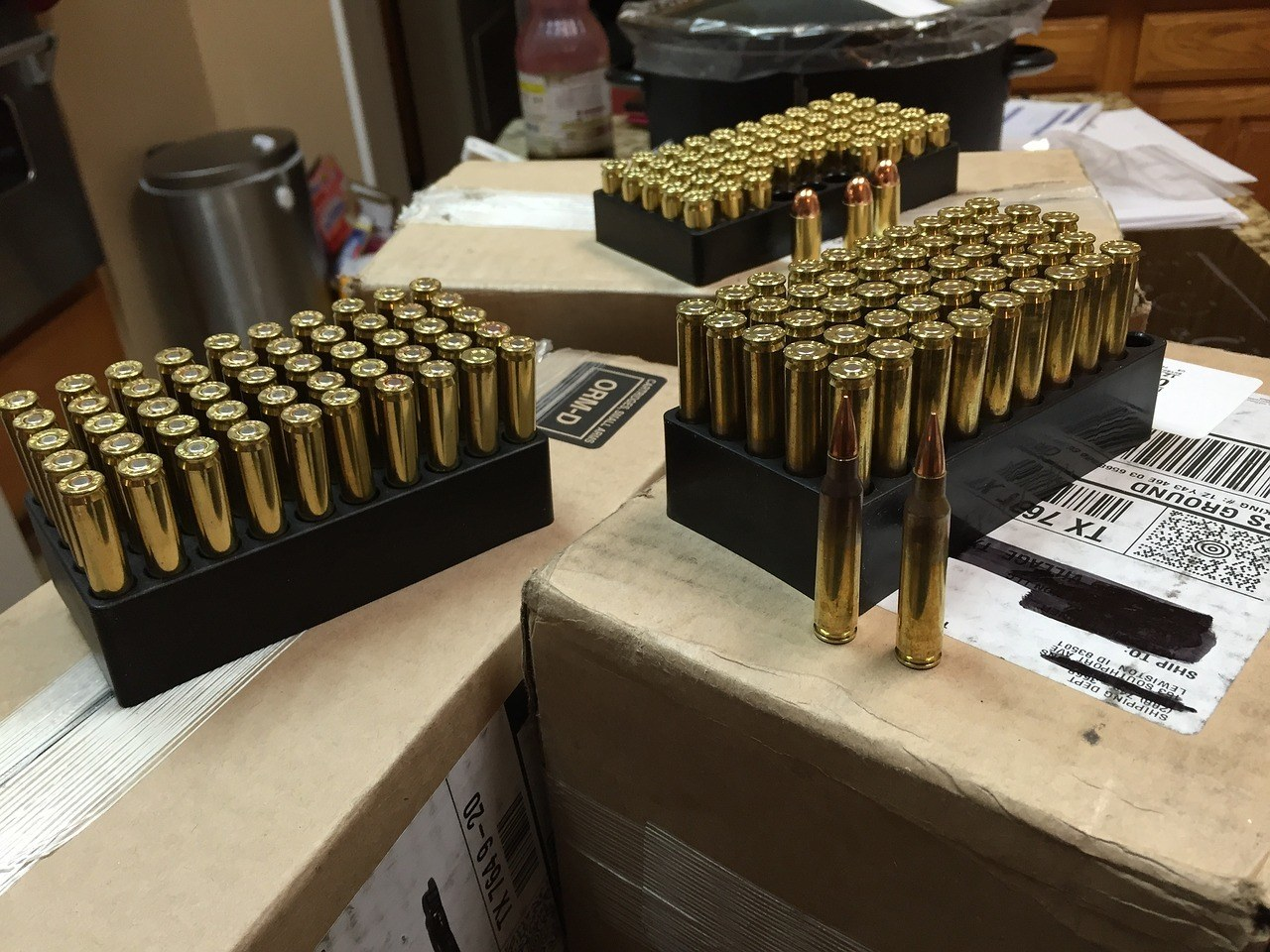 assorted ammo for hunting in the table